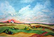 Prairie Sky Paintings - Prairie Grain Elevators by Joanne Smoley
