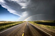 Natural Disaster Framed Prints - Prairie Hail Storm and Rainbow Framed Print by Mark Duffy