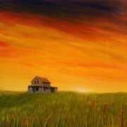 Prairie Sunset Paintings - Prairie Home at Sunset by Gary  Faulkner