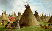Prairie Paintings - Prairie Indian Encampment by John Mix Stanley