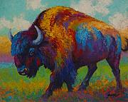 Prairies Painting Posters - Prairie Muse - Bison Poster by Marion Rose