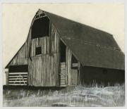 Old Barns Drawings Posters - Prairie Overlook Poster by Bryan Baumeister