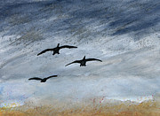 Geese Paintings - Prairie pothole II by R Kyllo