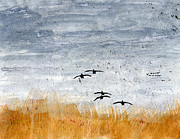 Geese Paintings - Prairie Pothole by R Kyllo