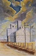 Farm Buildings Painting Originals - Prairie skies by Raymond Schuster