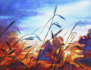 Wheat Field Sunset Print Posters - Prairie Sky Poster by Hanne Lore Koehler