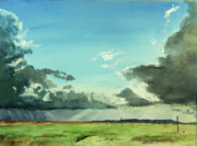 Prairie Sunset Paintings - Prairie Thunderstorm by Richard  Brown