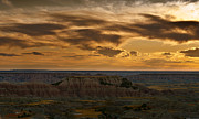 Badlands Posters - Prairie Wind Overlook Badlands South Dakota Poster by Steve Gadomski