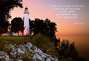United States Lighthouses Posters - Praise His Name Psalm 113 Poster by Michael Peychich