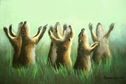 Realism Mixed Media Posters - Praising Prairie Dogs Poster by Anthony Falbo