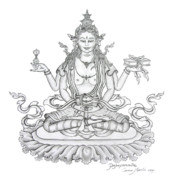 Tibetan Buddhism Drawings Posters - Prajnaparamita -Perfection of Wisdom Poster by Carmen Mensink