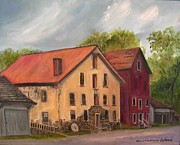 Grist Paintings - Prallsville Mills Stockton by Aurelia Nieves-Callwood