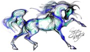 Equine Art Artwork Prints - Prancing Arabian Horse Print by Stacey Mayer