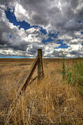 Barbed Wire Fences Posters - Prarie Sky Poster by Peter Tellone