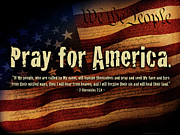 Old Glory Posters - Pray for America Poster by Shevon Johnson