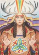 Native American Drawings Posters - Pray For Unity Dream Of Peace Poster by Amy S Turner