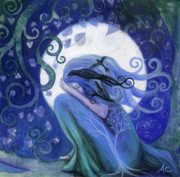 Indigo Painting Prints - Prayer Print by Amanda Clark