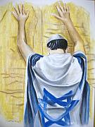 Jewish Pastels - Prayer At Wailing Wall by Scott Easom