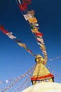 Religious Characters And Scenes Photos - Prayer Flags Wave In The Breeze by Michael Melford