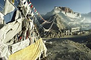 Dalai Lama Framed Prints - Prayer Flags Wave Outside The Potala Framed Print by Gordon Wiltsie