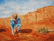 Sedona Cowboy Painting Originals - Prayer for Earth Mother by Ellen Levinson