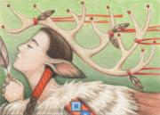 Native Drawings Prints - Prayer Of Elk Woman Print by Amy S Turner