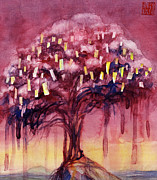Tibetan Paintings - Prayer Tree II by Janet Chui