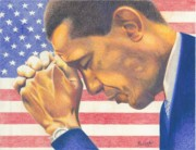 Us Flag Drawings - Prayerful President by Keith Burnette