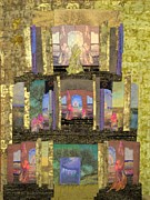 Quilt Collage Tapestries - Textiles Metal Prints - Prayers for Peace Metal Print by Roberta Baker