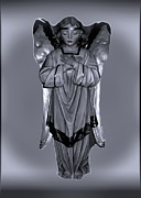 Wing Pyrography Posters - Prayful Angel Poster by Myrna Migala