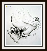 Praying Drawings Originals - Praying Baby by Prateek Shukla