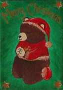 Child Praying Paintings - Praying Christmas Bear by Jessica Hallberg