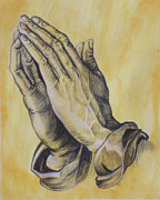 Praying Drawings Framed Prints - Praying Hands Framed Print by Donovan Hubbard