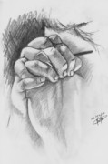Praying Drawings Originals - Praying Hands by Jason Yaw