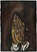 Christ Drawings - Praying Hands by Keith  Thurman