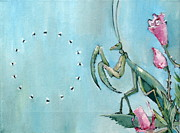 Claw Painting Metal Prints - PRAYING MANTIS and FLIES in CIRCLE Metal Print by Fabrizio Cassetta