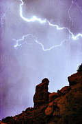 Thunderstorms Prints - Praying Monk Camelback Mountain Paradise Valley Lightning  Storm Print by James Bo Insogna