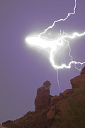 Lightning Bolts Prints - Praying Monk Lightning Halo Monsoon Thunderstorm Photography Print by James Bo Insogna