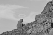 Black And White Mountain Prints Framed Prints - Praying Monk with Halo Camelback Mountain BW Framed Print by James Bo Insogna