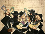 Cubist Mixed Media Framed Prints - Praying Rabbis Framed Print by Anthony Falbo