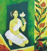 Prayer Painting Originals - Praying with flowers by Lalit Jain