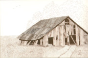 Old Barn Pen And Ink Framed Prints - Pre-Collapse Framed Print by Pat Price