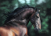 Equine Art Pastels Posters - Pre Platero through Christiane Slawiks eyes Poster by Lilian Faria