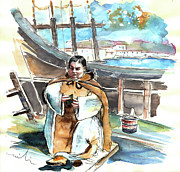 Gallion Prints - Preaching the Bible on The Conquistadores Boat in Vila do Conde in Portugal Print by Miki De Goodaboom