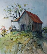 Pen And Ink Rural Framed Prints - Precarious Framed Print by Judith A Smothers