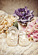Purple Lace Shoes Posters - Precious Baby Shoes Poster by Cheryl Davis