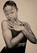 Charcoal Drawings Drawings Framed Prints - Precious Framed Print by Curtis James
