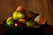 Bowl Of Peaches Posters - Precious Fruit Bowl Poster by Sherry Hallemeier