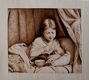 Portrait Pyrography Framed Prints - Precious Moments Framed Print by Jo Schwartz