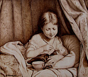 Sepia Pyrography Posters - Precious Moments-No Border Poster by Jo Schwartz